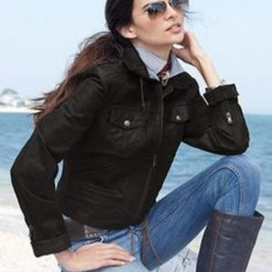 NWT Women's Motorcycle Cropped Leather Jacket Sz M